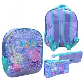 Peppa Pig sequins set: backpack + pencil case