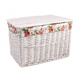 White wicker trunk with roses material 55x39x37h cm