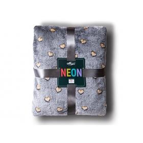 Neon blanket hearts gray + gold / 200x220