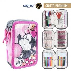 Minnie Mouse Three-chamber pencil case with Giotto Premium accessories Cerda